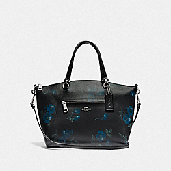 PRAIRIE SATCHEL WITH VICTORIAN FLORAL PRINT - F80004 - SV/BLUE BLACK MULTI