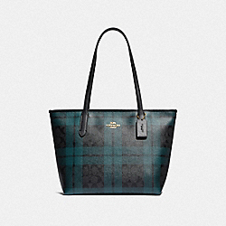 ZIP TOP TOTE IN SIGNATURE CANVAS WITH FIELD PLAID PRINT - F80028 - IM/BLACK/DEEP OCEAN MULTI