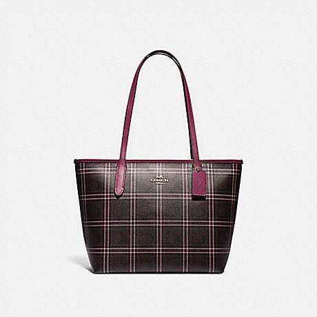 COACH F80032 ZIP TOP TOTE IN SIGNATURE CANVAS WITH SHIRTING PLAID PRINT IM/BROWN-FUCHSIA-MULTI