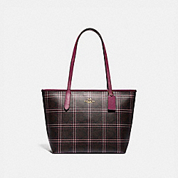 COACH F80032 - ZIP TOP TOTE IN SIGNATURE CANVAS WITH SHIRTING PLAID PRINT IM/BROWN FUCHSIA MULTI