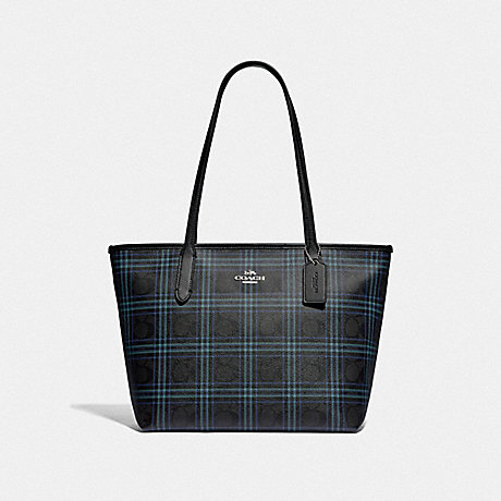 COACH F80032 ZIP TOP TOTE IN SIGNATURE CANVAS WITH SHIRTING PLAID PRINT SV/BLACK-NAVY-MUTLI