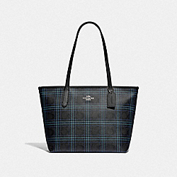 ZIP TOP TOTE IN SIGNATURE CANVAS WITH SHIRTING PLAID PRINT - F80032 - SV/BLACK NAVY MUTLI