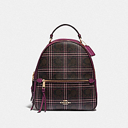 JORDYN BACKPACK IN SIGNATURE CANVAS WITH SHIRTING PLAID PRINT - F80051 - IM/BROWN FUCHSIA MULTI