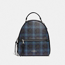 COACH F80051 - JORDYN BACKPACK IN SIGNATURE CANVAS WITH SHIRTING PLAID PRINT SV/BLACK NAVY MUTLI