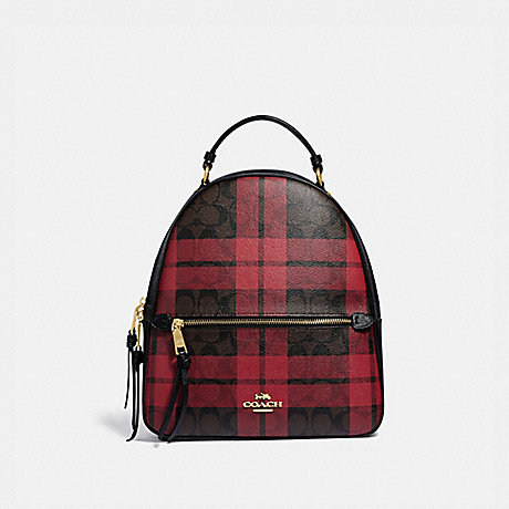 COACH F80056 JORDYN BACKPACK IN SIGNATURE CANVAS WITH FIELD PLAID PRINT IM/BROWN-TRUE-RED-MULTI