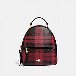 COACH F80056 - JORDYN BACKPACK IN SIGNATURE CANVAS WITH FIELD PLAID PRINT IM/BROWN TRUE RED MULTI