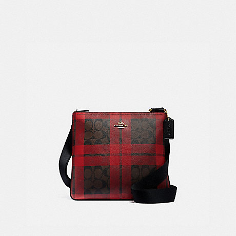 COACH F80057 ZIP FILE CROSSBODY IN SIGNATURE CANVAS WITH FIELD PLAID PRINT IM/BROWN-TRUE-RED-MULTI