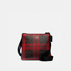 COACH F80057 - ZIP FILE CROSSBODY IN SIGNATURE CANVAS WITH FIELD PLAID PRINT IM/BROWN TRUE RED MULTI