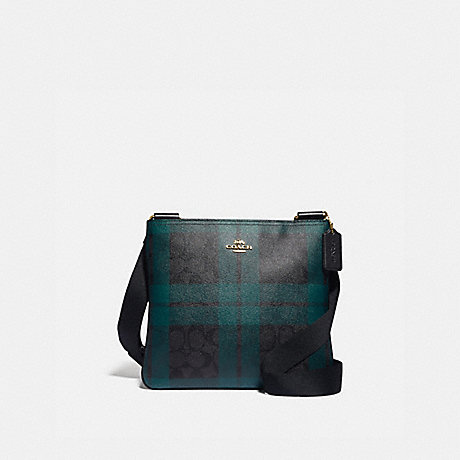 COACH F80057 ZIP FILE CROSSBODY IN SIGNATURE CANVAS WITH FIELD PLAID PRINT IM/BLACK/DEEP-OCEAN-MULTI