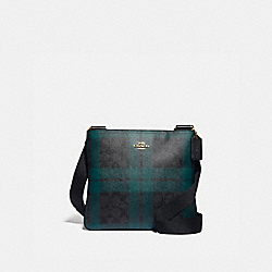 COACH F80057 - ZIP FILE CROSSBODY IN SIGNATURE CANVAS WITH FIELD PLAID PRINT IM/BLACK/DEEP OCEAN MULTI