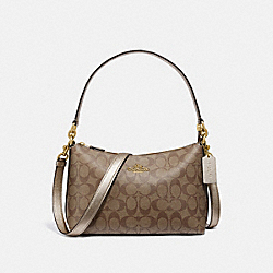 COACH F80059 - LEWIS SHOULDER BAG IN SIGNATURE CANVAS IM/KHAKI PLATINUM