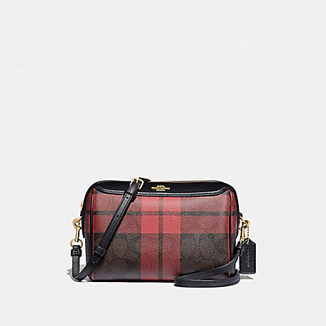COACH F80068 BENNETT CROSSBODY IN SIGNATURE CANVAS WITH FIELD PLAID PRINT IM/BROWN-TRUE-RED-MULTI