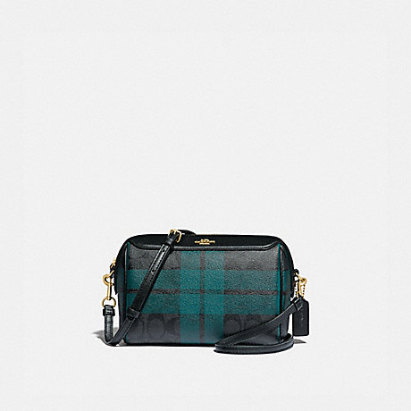 COACH F80068 BENNETT CROSSBODY IN SIGNATURE CANVAS WITH FIELD PLAID PRINT IM/BLACK/DEEP-OCEAN-MULTI