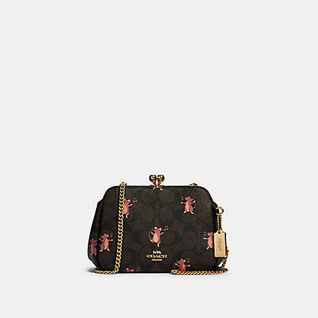 COACH F80181 PEARL KISSLOCK CROSSBODY IN SIGNATURE CANVAS WITH PARTY MOUSE PRINT IM/BROWN-PINK-MULTI