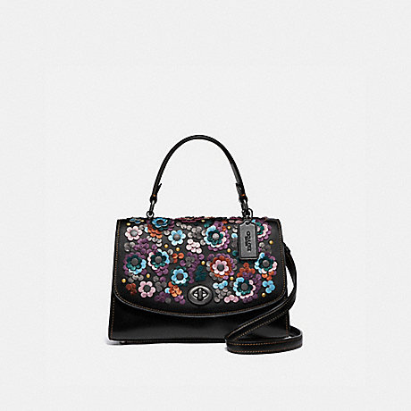 COACH F80213 TILLY TOP HANDLE SATCHEL WITH LEATHER SEQUINS QB/BLACK-MULTI