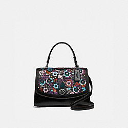 TILLY TOP HANDLE SATCHEL WITH LEATHER SEQUINS - F80213 - QB/BLACK MULTI