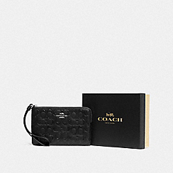 BOXED CORNER ZIP WRISTLET IN SIGNATURE LEATHER - F80214 - SV/BLACK