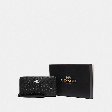 COACH BOXED LARGE PHONE WALLET IN SIGNATURE LEATHER - SV/BLACK - F80222