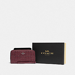 COACH F80222 Boxed Large Phone Wallet In Signature Leather SV/WINE