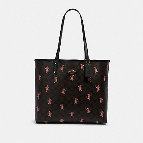 COACH F80231 REVERSIBLE CITY TOTE IN SIGNATURE CANVAS WITH PARTY MOUSE PRINT IM/BROWN-PINK-MULTI/BLACK