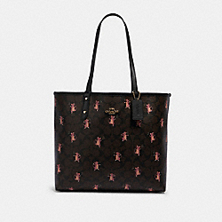 COACH F80231 - REVERSIBLE CITY TOTE IN SIGNATURE CANVAS WITH PARTY MOUSE PRINT IM/BROWN PINK MULTI/BLACK