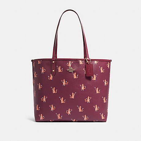 COACH F80232 REVERSIBLE CITY TOTE WITH PARTY CAT PRINT IM/DARK-BERRY-MULTI/DARK-BERRY