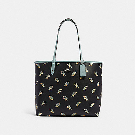 COACH F80235 REVERSIBLE CITY TOTE WITH PARTY OWL PRINT SV/BLACK-MULTI-SAGE