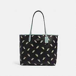 REVERSIBLE CITY TOTE WITH PARTY OWL PRINT - F80235 - SV/BLACK MULTI SAGE