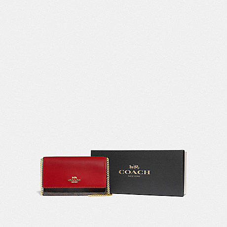 COACH BOXED FLAP BELT BAG IN SIGNATURE CANVAS - IM/BROWN TRUE RED - F80245