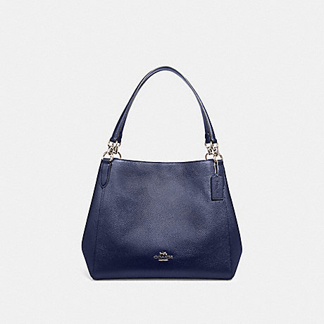 COACH F80271 HALLIE SHOULDER BAG SV/METALLIC-BLUE
