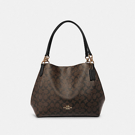 COACH F80298 HALLIE SHOULDER BAG IN SIGNATURE CANVAS IM/BROWN/BLACK