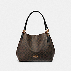 COACH F80298 - HALLIE SHOULDER BAG IN SIGNATURE CANVAS IM/BROWN/BLACK