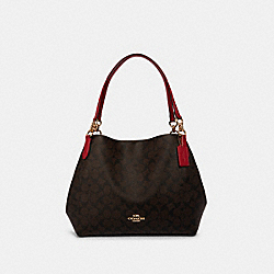 COACH F80298 - HALLIE SHOULDER BAG IN SIGNATURE CANVAS IM/BROWN TRUE RED