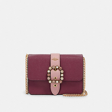 COACH F80300 BOWERY CROSSBODY IN SIGNATURE CANVAS IM/DARK-BERRY/KHAKI-MULTI