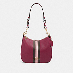 COACH F80643 - JES HOBO WITH VARSITY STRIPE IM/DARK BERRY MULTI