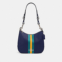 COACH F80643 - JES HOBO WITH VARSITY STRIPE SV/CADET MULTI