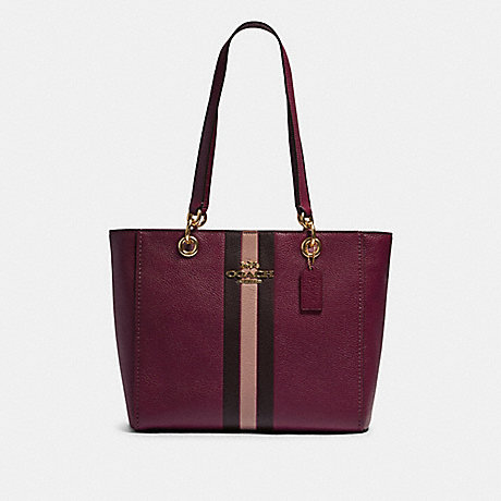 COACH F80808 JES TOTE WITH VARSITY STRIPE IM/DARK-BERRY-MULTI