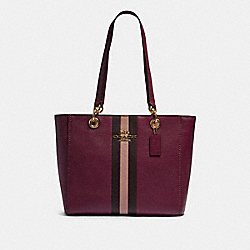 COACH F80808 - JES TOTE WITH VARSITY STRIPE IM/DARK BERRY MULTI