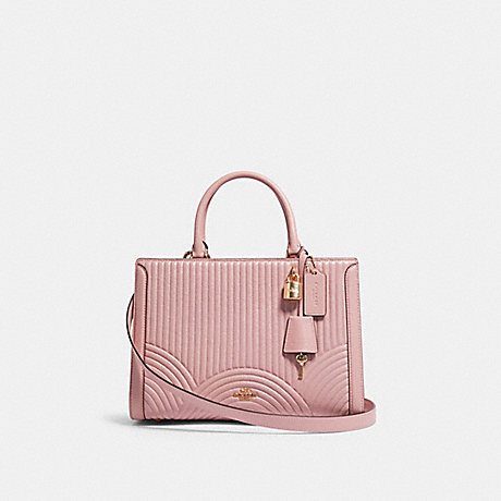 COACH F80821 ZOE CARRYALL WITH ART DECO QUILTING IM/PINK