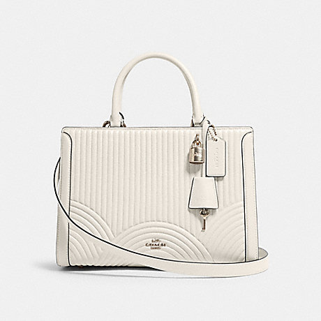 COACH F80821 ZOE CARRYALL WITH ART DECO QUILTING SV/CHALK
