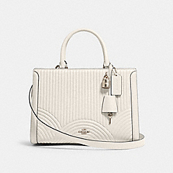 COACH F80821 - ZOE CARRYALL WITH ART DECO QUILTING SV/CHALK