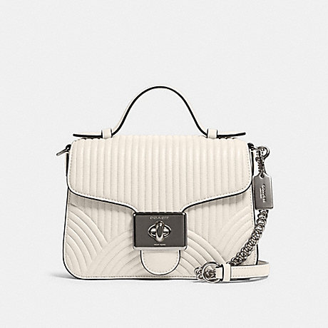 COACH F80823 CASSIDY TOP HANDLE CROSSBODY WITH ART DECO QUILTING SV/CHALK