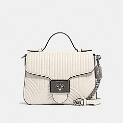 CASSIDY TOP HANDLE CROSSBODY WITH ART DECO QUILTING - F80823 - SV/CHALK