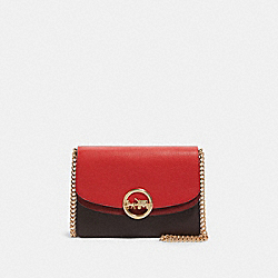JADE FLAP CROSSBODY IN COLORBLOCK - F80834 - IM/BRIGHT RED MULTI