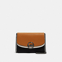 JADE FLAP CROSSBODY IN COLORBLOCK - F80834 - QB/LIGHT SADDLE MULTI