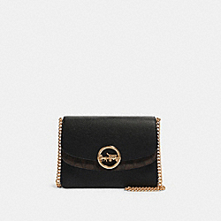 JADE FLAP CROSSBODY WITH SIGNATURE CANVAS DETAIL - F80836 - IM/BROWN/BLACK