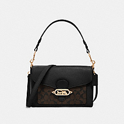 JADE MESSENGER WITH SIGNATURE CANVAS DETAIL - F81992 - IM/BROWN/BLACK