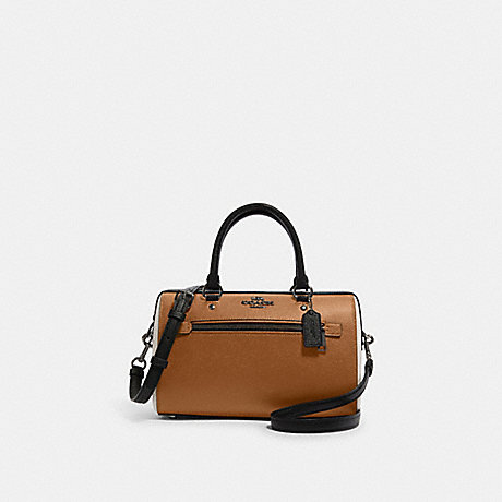 COACH F82129 ROWAN SATCHEL IN COLORBLOCK QB/LIGHT-SADDLE-MULTI