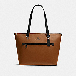 COACH F82133 Gallery Tote In Colorblock QB/LIGHT SADDLE MULTI