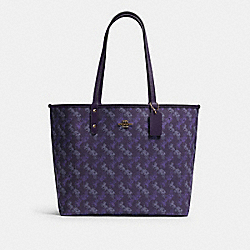 COACH F82134 - REVERSIBLE CITY TOTE WITH HORSE AND CARRIAGE PRINT IM/DARK PURPLE/LAVENDAR MULTI